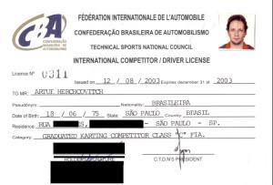 DRIVER LICENSE INTERNATIONAL KART